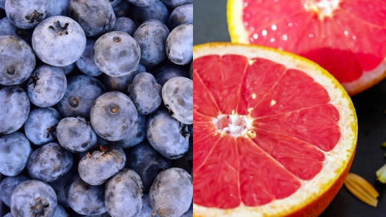 Blueberries and grapefruit